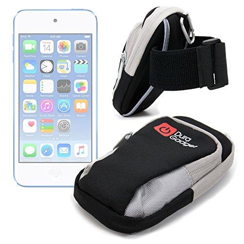 DURAGADGET Brazalete Deportivo Negro Y Gris para Apple iPod Touch (6/5/4/3/2/1 Generación) - con Banda Elástica De Cierre De Gancho Y Bucle