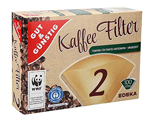 GUT&GÜNSTIG 100 Stück Kaffeefilter Größe 2   Filtertüten 1x2