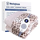 Westinghouse Electric Blanket Heated Throw Luxury Faux Fur to Flannel Reversible Heating Blanket 50'x60', 6 Heat Settings & 4 Hours Auto Off, Machine Washable Leopard Print