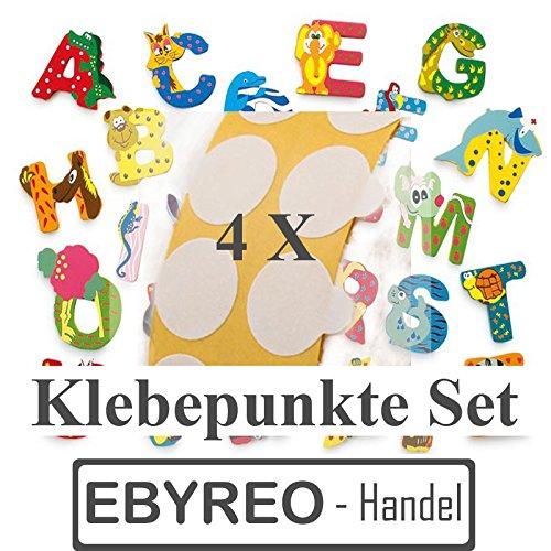 ebyreo - Handel Buchstaben Tiere A – Z, Kinderzimmerdeko - Wunschnamen -Kinderzimmertür - Geschenk zur Geburt - Tierbuchstabe (27. Klebepunkte (4 Stück))