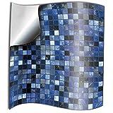 Tile Style Decals 24 stück Fliesenaufkleber für Küche und Bad Blau Mosaik Wandfliese Aufkleber für 15x15cm Fliesen Deko Fliesenfolie für Küche u. Bad (15cm 24 stück, Blau)