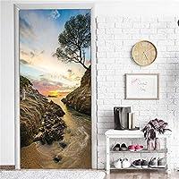 ドア壁画ウォールステッカー 岩の海の3Dドアステッカー家の装飾粘着性のPvcステッカー
