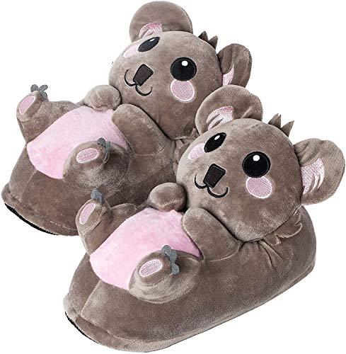 "corimori Süße Plüsch Hausschuhe (10+ Designs) Koala ""Hugo"" Slipper Einheitsgröße 25-33,5 Unisex Pantoffeln Grau"