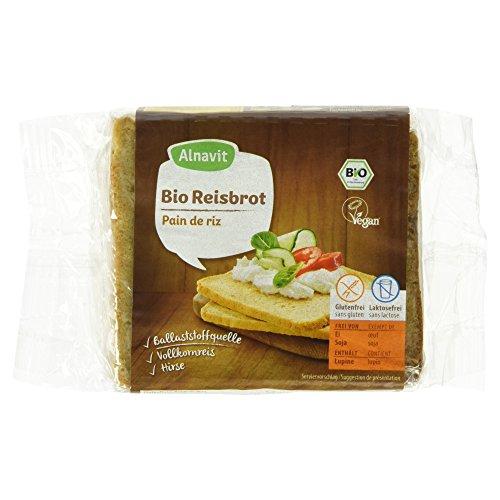 Alnavit Bio Reisbrot, glutenfrei, laktosefrei, vegan, 4er Pack (4 x 375 g)