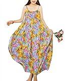 YESNO Women Casual Loose Bohemian Floral Print Dresses Spaghetti Strap Long Maxi Summer Beach Swing Dress XS-5X E75 (XL, As Picture55-Multi-Colored)