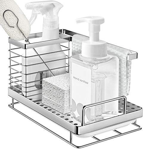 ODesign Kitchen Sink Caddy Organizer Sponge Soap Brush Holder with Drain Pan SUS304 Stainless Steel - RUSTPROOF