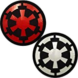 2 Pack Glow Dark Star War Jedi Order Jedi Knight Imperial Galactic Empire Logo Symbol Sticker IR Infrared Reflective Patch, Hook and Loop Fastener Tactical Military Morale Appliques Emblem Badges