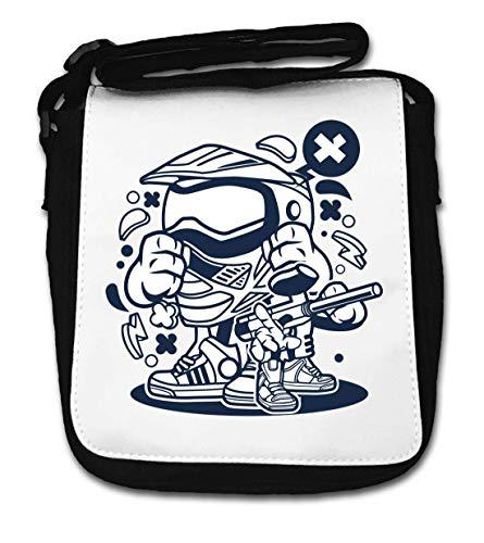 Cartoon Style Paintball Air Gun and Helmet Small Shoulder Bag