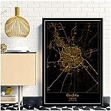 xiongda Cordoba Argentinien Schwarz & Gold Stadtlichtkarten