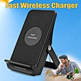 Fast Wireless Charger, iFunTec Wireless Charging Stand Pad Mat with Cooling Fan, QI Charger, Fast Charging Foldable for iPhone X /8/8 Plus, Samsung Galaxy S9/S9 Plus/Note 8. All Qi-Enabled Devices