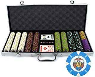 500 Count Rock & Roll Poker Set – 13.5 Gram Clay Composite Chips with Aluminum Case, Playing Cards, & Dealer Button for Texas Hold'em, Blackjack, & Casino Games by Claysmith Gaming