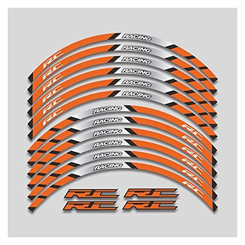 XIAOZHIWEN Calcomanía de la Motocicleta Rueda Exterior Etiquetas engomadas de la Rueda Neumático Frontera Frontera Frontera Lapituras de reflexivo Decoración de neumáticos Compatible con K*T*M RC 125