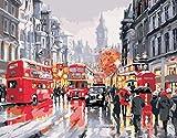 Ssiyun Kit De Pintura Vista De La Calle De Londres Pintar por Numeros para Adultos Niños Pintura por Números Decoraciones para El Hogar-16 X 20 Pulgadas(Sin Marco)