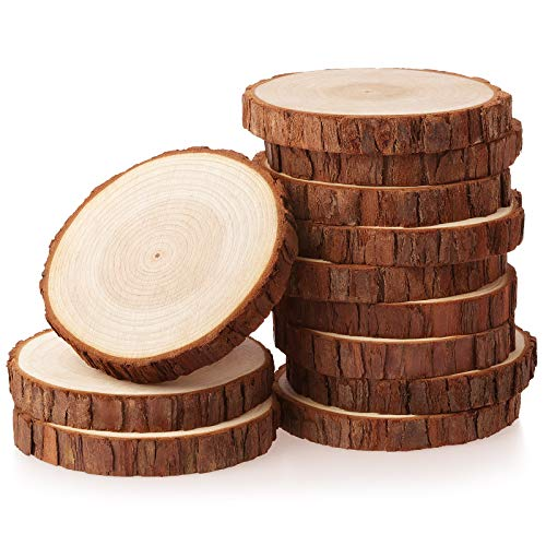 Fuyit Wood Slices 12 Pcs 11-12cm NO Hole Natural Unfinished Log Wooden Circles for Art Creation DIY Crafts Wedding Decorations Christmas Ornaments