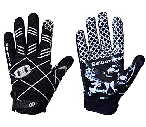 Seibertron Pro 3.0 12 Constelaciones Elite Ultra-Stick Sports Receiver Glove American Football Gloves Youth and Kids/Guantes de fútbol Americano para Juventud y niños Black XS
