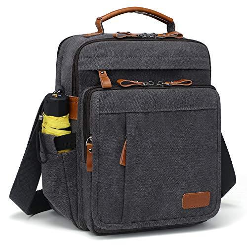 Estarer Mens Messenger Shoulder Bag for 13.3' Laptop/12.9' iPad Pro,Small Canvas Cross Body Flight Bag for Work