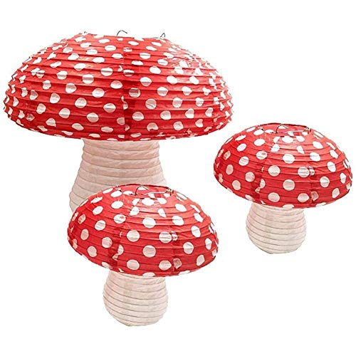 Vaorwne 3Pcs Mushroom Shaped Paper Lanterns for Forest Jungle Wonderland Theme Birthday Party Decor Hanging 3D Mushroom Ornament