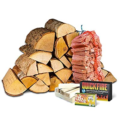 Fire Pit Starter Kit. Includes 20Kg Kiln Dried Hardwood Logs, Kiln Dried Kindling, Firelighters and Matches from Logpile