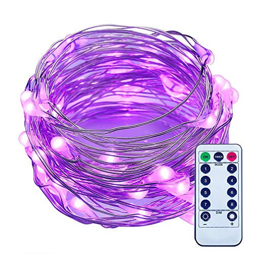 ITART Purple LED String Lights with Remote Timer Dimmable Mini Fairy Lights Battery Operated 50 LED 16.7 Ft Thin Wire Rope Lights for Christmas Dorm Halloween Wedding Bedroom Decoration
