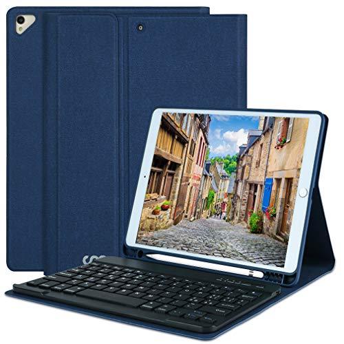 Custodia con tastiera per iPad 10.2 per iPad 8a generazione 2020 - iPad 7a generazione 2019 - iPad Air 3, iPad Pro 10.5 2017 Tastiera Bluetooth rimovibile senza fili - Portapenne (Blu profondo)