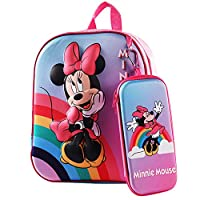 [Packing includes]: Minnie schoolbag set includes a Minnie backpack and a Minnie pencil case. The size is 26 x 21 x 9.5 cm. Please pay attention to the size and height of the child before buying. [Material]: Made of high-quality polyester fiber + EVA...
