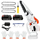 Mini Chainsaw,Yalaghon 6-Inch Mini Cordless Chainsaw Kit With 3Pcs Chains And 2Pcs Battery,28V 15000mAh Electric Chainsaw Handheld With Safety Lock,Portable Battery Powered Chainsaw For Wood Cutting