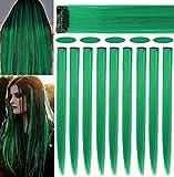 Rhyme 9 PCS 21 'Extensiones de cabello de color liso Clip In / On Extensiones de cabello morado Peluca Party Highlight MultiColors Piezas de cabello para mujeres / niñas (verde)