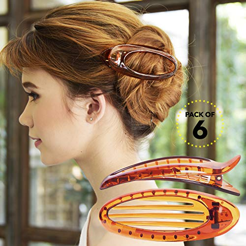 RC ROCHE ORNAMENT 6 Pcs Hair Clip Classic Oval Side Opening Slide Plastic Curve Flat Comb Inner Teeth Clamp Barrette Girls Ladies Beauty Accessory Grip, Large Brown