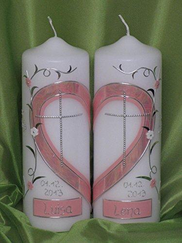 Taufkerze für Zwillinge/Geschwisterkerze ; 2 Kerzen ergeben ein Motiv ein Herz inklusive Beschriftung ! TZ 7