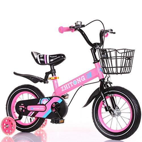FORIDE Bicicletas para niños y niñas de 12/14/16/18 pulgadas, bicicletas para niños con ruedas de entrenamiento y cesta para deportes al aire libre ciclismo (el nuevo rosa (flash), 14 pulgadas)