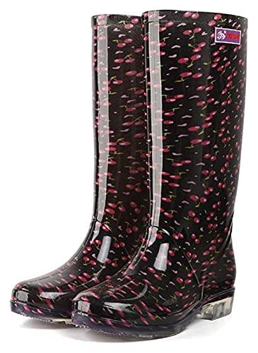 Botas de lluvia de tubos largos para mujer de moda botas antideslizantes impermeables antideslizantes imprimieron botas de lluvia brillante botas de lluvia ( Color : Black Cherry , Size : 37 EU )