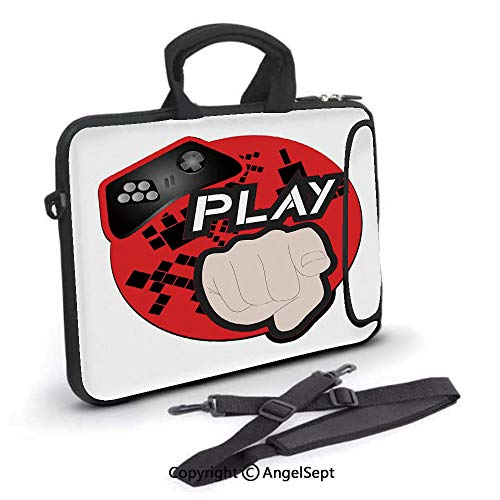 15 inch Laptop Shoulder Bags,Gaming with Play Words and Pointing Finger Abstract Squares Design,Waterproof,Portable,Compatible iPad,MacBook Pro,Air,Surface