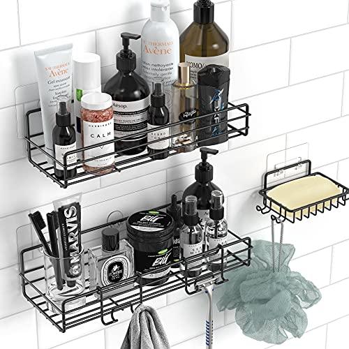 Estante para ducha con soporte para jabón, sin perforaciones, adhesivo sin rastro, SUS304, organizador de almacenamiento de ducha,...