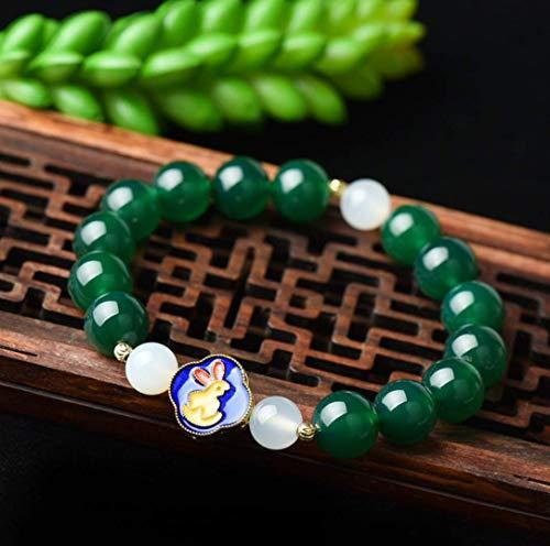 Pulsera de aleación Feng Shui Wealth Amuleto Pulsera Zodíaco chino Animal Cornalina verde 7A Ágata Esmalte raro Curación Charka Cristal Pulsera elástica Atraer dinero Buena suerte para hombres