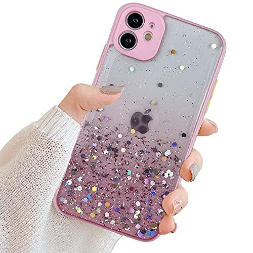 Mo-Somnus Cover per iPhone SE(2020) / 8/7 4,7 Pollici [con Pellicola in Vetro], Trasparente Motivo in Creativo Sparkle Pendenza Morbida Silicone Ultra Sottile TPU Custodia Protettiva (Rosa)