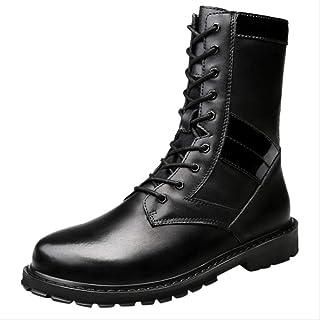 Splaa Botas Zapatos Terciopelo de Cuero para Hombres Botas Militares de Gran tamaño Use Botas Martin de Alta Ayuda