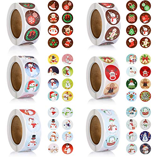 6 Rolls 3000 Pieces Christmas Stickers Round Adhesive Labels Xmas Decorative Stickers Christmas Stickers Labels Roll 1 Inch 48 Designs for Cards Envelopes Boxes Photo #4