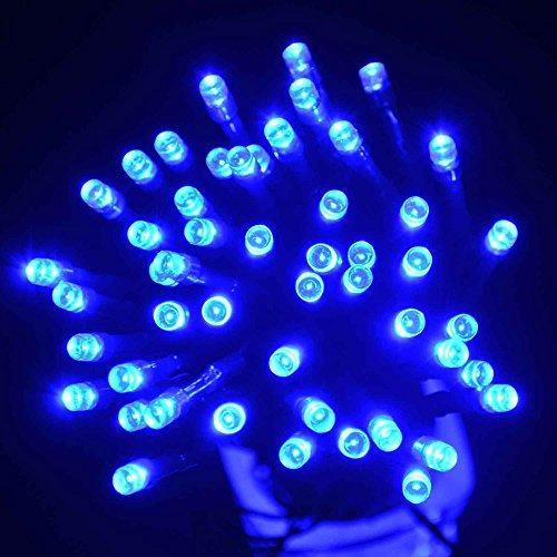 Lichterkette,FeiliandaJJ 12M 100LED IP44 Wasserdichte Solar-Deko-Lichterkette LED Licht Hochzeit Party Halloween Xmas Innen/Außen Haus Deko String Lights (Blau)