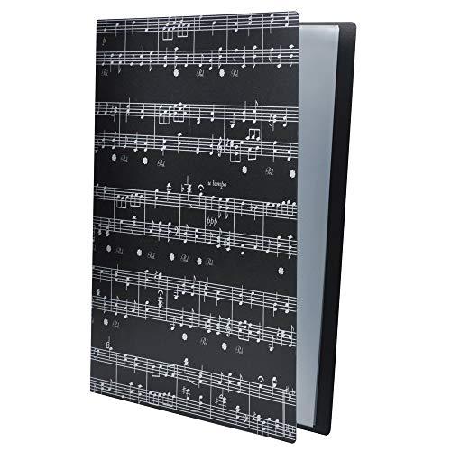 Carpeta de archivos de música, tamaño A4, carpeta de música, documentos, temática de música, 40 bolsillos, carpeta de almacenamiento