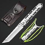 NedFoss Pocket Knife, 8'' Tanto Hunting Folding Knife with Glass Breaker, Slingshot, Pocket Clip, Survival Knife for Emergency Rescue Situations, Home Improvements, Cool Knives for Men (Sliver)