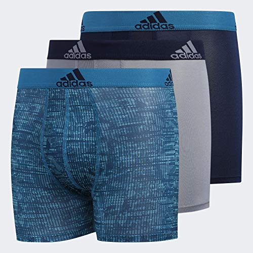 adidas Youth Kids-Boy's Performance Boxer Briefs Underwear (3-Pack), Hinder Active Teal Grey/Active Teal Collegiate Nav, LARGE