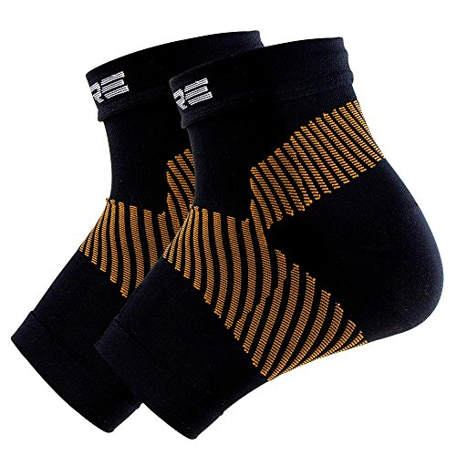 Pure Athlete Copper Plantar Fasciitis Compression Sleeves (Pair) - Relieve Plantar Fasciitis Pain, Arch Support - Lightweight Brace, Foot Sleeve with Special Copper Yarn (Black, L/XL)