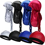 8 Pièces Chapeau Durag en Soie Chapeau de Vague Élastique Durag Headwrap avec Longue Queue Casquette de Vague avec Sangles Larges (Rouge, Gris, Noir, Bleu Royal)