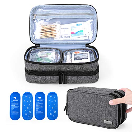 Yarwo Insulin Cooler Travel Case, Double-Layer Diabetic Travel Case with 4 Ice Packs, Diabetic Supplies Organiser for Insulin Pens, Blood Glucose Monitors or Other Diabetes Supplies, Grey