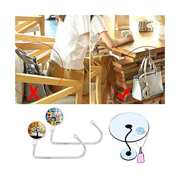 hatisan 4 Pack Handbag Purse Hanger for Tables Desk, Portable Purse Hook Bag Holder Under Counter Handbags Hook for Women Girls Bags Storage Gift – Lightweight & Durable(4