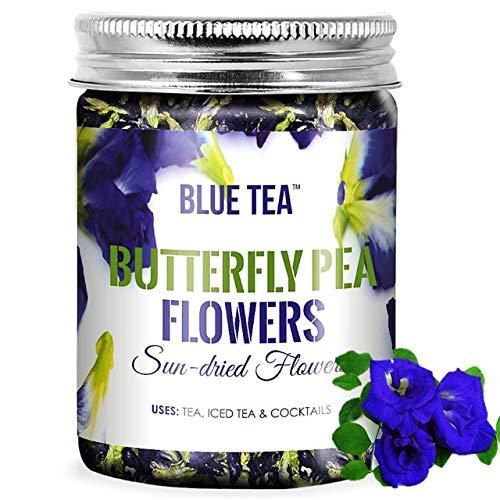 BLUE TEA - Schmetterlingserbsenblüte Tee - 50 Gramm | für Eistees, Kühler, Cocktails und Mocktails | PET-Glas in Lebensmittelqualität mit METALLdeckel | Für Getränke | Für Geschenk |
