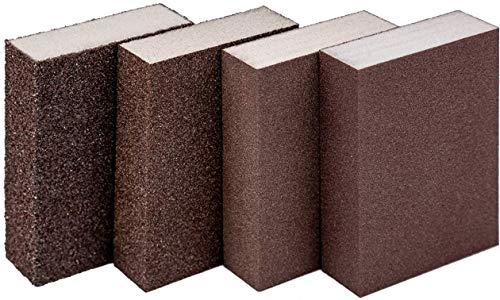 Sandpaper Sponge Abrasive Sponge Block Wet Dry Sandpaper Block Washed Reusable Sanding Pad Decoration Work Woodworking Furniture Polishing High Density Rust Removing Brick Sand Wall Block 4 Pieces