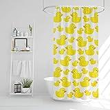 EKNA Duschvorhang 183x183cm - Badewannvorhang mit winzigen Enten - Leicht zu pflegene Duschabtrennung für Badewanne