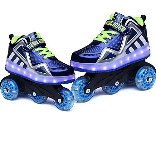 Roller Blades Shoes for Girls,Inline Skates with Led Flash Sneakers,Roller Blades with Upper USB Charge Birthday Thanksgiving Christmas Day Best Giftblue-3 Little Kid
