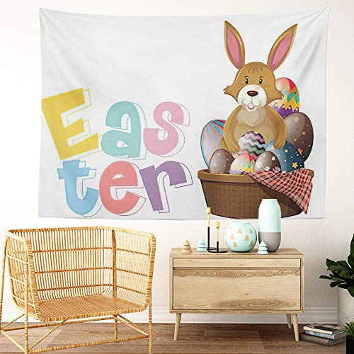 Y·JIANG Tapiz de conejo de Pascua, fuente de Pascua con conejo y huevos para el hogar, tapiz grande decorativo, manta ancha para colgar en la pared para sala de estar, dormitorio, 80 x 60 pulgadas